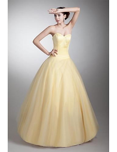 Evento Formal Vestido - Elegante Linha A Coração Longo Tule com Pregas