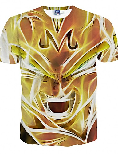 Herren T-shirt-Druck Freizeit Polyester Kurz-Gelb