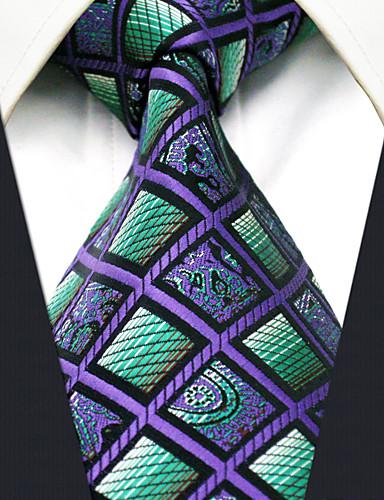 cheque del bloque del color de la corbata del rayón del trabajo del partido de los hombres jacquard, básico