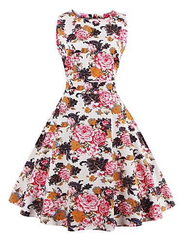 Mulheres Tamanhos Grandes Evasê Vestido - Estampado, Floral