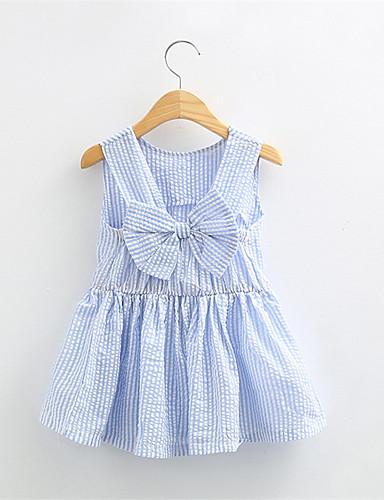 Mädchen Kleid Lässig/Alltäglich Druck Baumwolle Sommer Ärmellos Schleife Streifen Blau