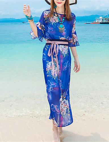 Lose Kleid-Strand Boho Druck Rundhalsausschnitt Maxi ½ Länge Ärmel Blau Polyester Sommer Mittlere Hüfthöhe Mikro-elastisch