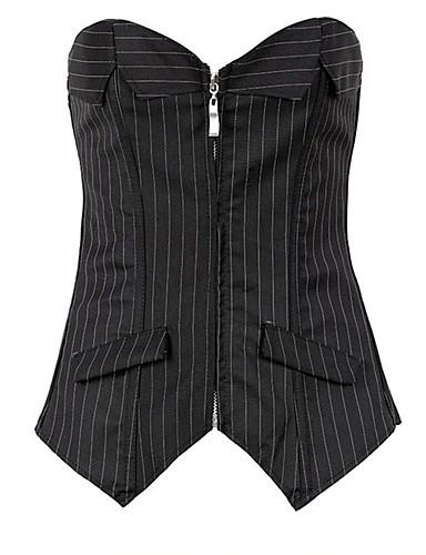 אישה מידה גדולה / מחוך מתחת לחזה / מחוך מעל החזה / שמלת מחוך / סט מחוך Nightwear-סקסית / פוש אפ / תחרה / דפוס / Retro פסים-Mediumניילון /