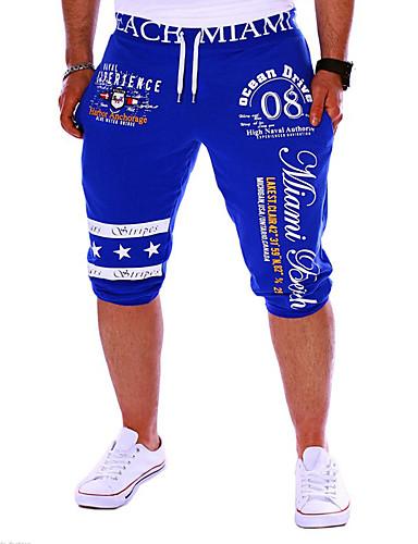 ราคาถูก กางเกงผู้ชาย-สำหรับผู้ชาย ซึ่งทำงานอยู่ / พื้นฐาน Sport สุดสัปดาห์ หลวม / กางเกงวอร์ม / กางเกงขาสั้น กางเกง - ลายตัวอักษร ลายพิมพ์ ฝ้าย สีดำ สีเทา ฟ้า L XL XXL