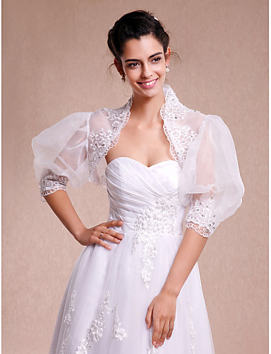 Lace Organza Wedding Party Evening Casual Wedding  Wraps With Lace Shrugs