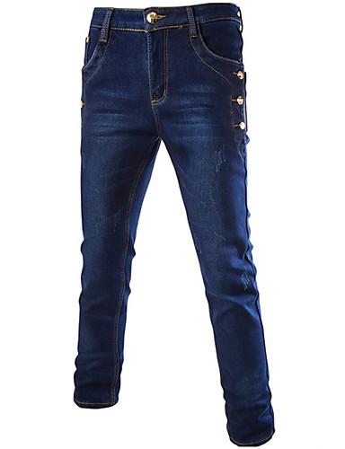 Herren Chinos-Einfarbig Freizeit / Übergröße Baumwolle / Polyester Blau