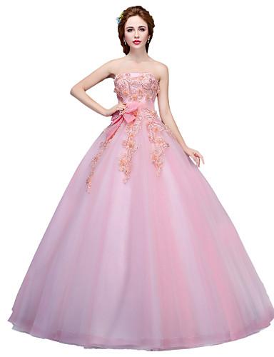 De Baile Princesa Sem Alças Longo Tule Evento Formal Vestido com Apliques Detalhes em Cristal Flor(es) de SG
