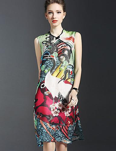 פוליאסטר עד הברך צווארון V דפוס שמלה נדן סגנון רחוב נשים