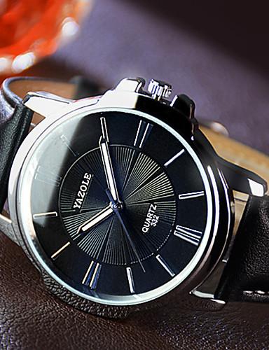 YAZOLE Herrn Kleideruhr Quartz Armbanduhren für den Alltag Nachts leuchtend Leder Band Charme Schwarz Braun