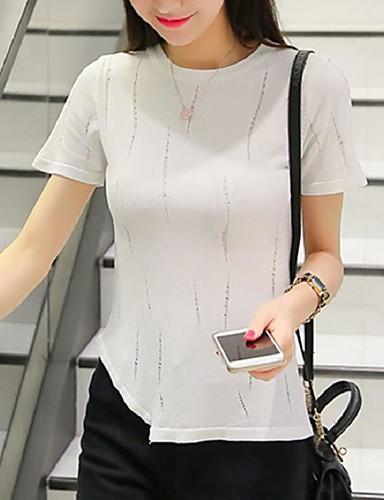 Damen Standard Pullover-Lässig/Alltäglich Street Schick Solide Weiß Rundhalsausschnitt Kurzarm Kunstseide Sommer Mittel Dehnbar