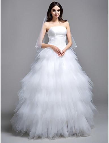 Krinolina Bez naramenica Jako kratki šlep Til Izrađene su mjere za vjenčanja s Nabrano / U slojevima po LAN TING BRIDE® / Male bijele vjenčanice