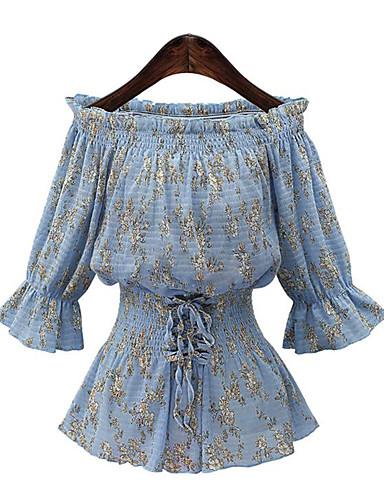 Polyester Blå Medium Tre-kvart ermer,Båthals Bluse Trykt mønster Sommer Gatemote Fritid/hverdag Kvinner