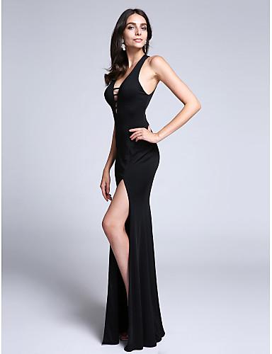 Sütun Boyun eğme çizgisi Tül Kuyruk Jarse Ayrık Ön ile Resmi Akşam Elbise tarafından TS Couture® / Şalter