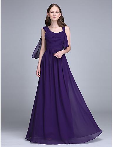 מעטפת \ עמוד רצועות עד הריצפה שיפון שמלה לשושבינה  עם אסוף על ידי LAN TING BRIDE®