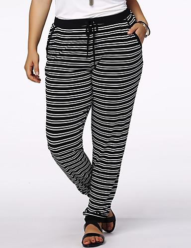Femme Actif Taille Normale Extensible Jeans Pantalon Rayé