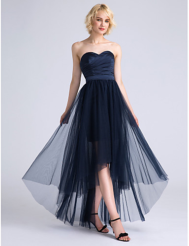 A-Line Sweetheart Neckline Asymmetrical Satin / Tulle Bridesmaid Dress with Criss Cross / Ruched by LAN TING BRIDE® / Open Back