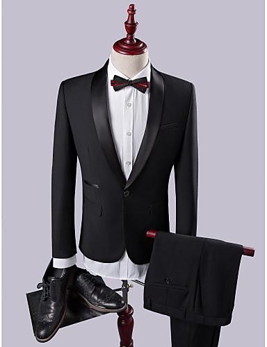 billiga Brudgum och marskalkar-Svart Solid Smal passform Polyester Viskos Kostym - Sjal Singelknäppt 1 Knapp