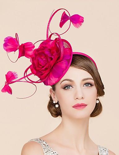 abordables Chapeau & coiffure-Lin / Plume Kentucky Derby Hat / Fascinators / Chapeaux avec 1 Mariage / Occasion spéciale / Décontracté Casque