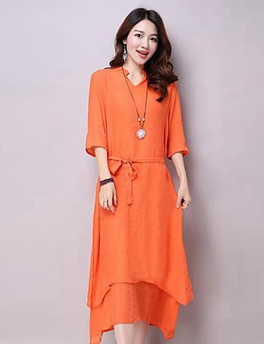 Mulheres Solto Vestido,Casual Simples Sólido Decote Redondo Assimétrico Meia Manga Branco / Verde / Laranja Linho Verão
