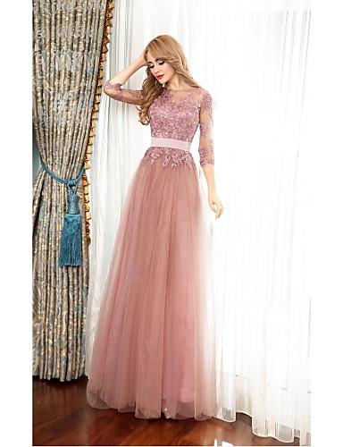 גזרת A אשליה עד הריצפה טול נשף רקודים ערב רישמי שמלה עם אפליקציות כפתורים על ידי TS Couture®