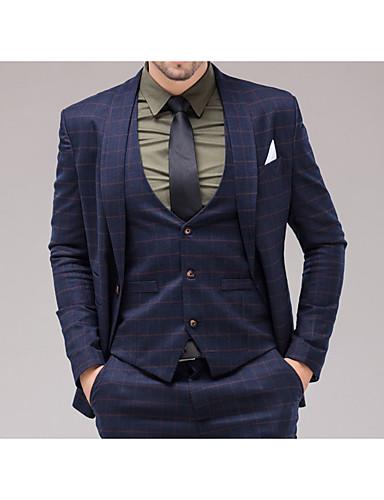 חליפות גזרה צרה צווארון צעיף (שאל) Single Breasted One-button כותנה משובץ 3 חלקים כיס ישר ללא (חלק קדמי שטוח) כחול כהה ללא (חלק קדמי שטוח)