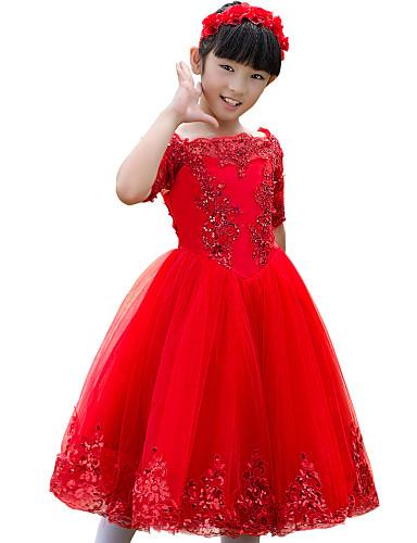 Ball kjole te lengde blomst jente kjole - tulle halv ermer bateau hals med applique