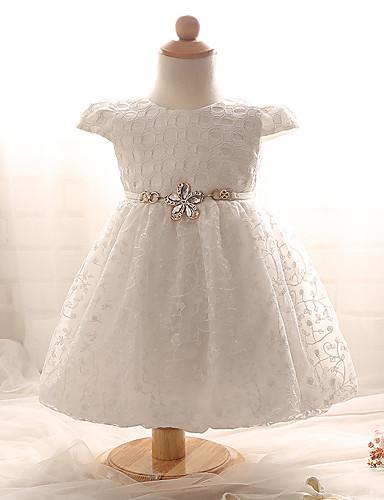 bebê Menina de Vestido Diário Sólido Verão Algodão Manga Curta Laço Branco Rosa claro
