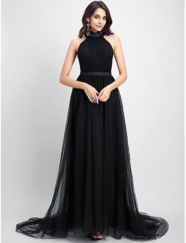 A-linje Grime Kapellslep Tyll Formell kveld Kjole med Drapering av TS Couture®