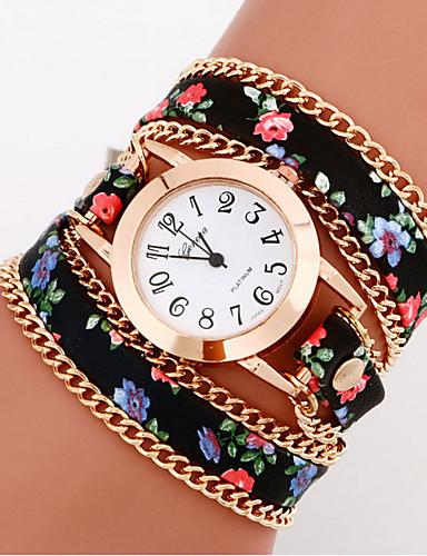cheap Floral Watches-Women's Fashion Watch Bracelet Watch Wrist Watch Quartz Leather Black / White / Blue Casual Watch / Analog Ladies Flower Bohemian - Red Light Blue Light Green