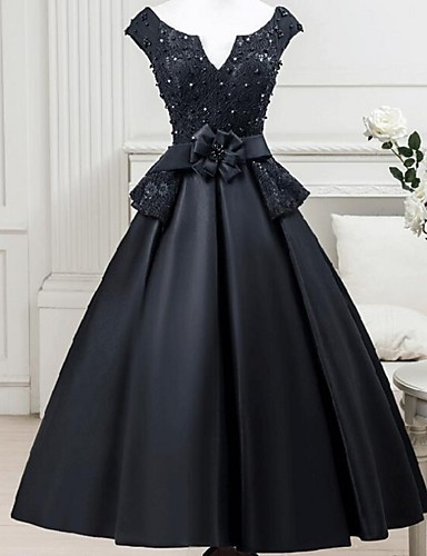 Ball Gown Notched Tea Length Satin   Beaded Lace Little Black Dress  Cocktail Party   Formal Evening Dress with Sash   Ribbon   Flower by LAN  TING Express b092e8231