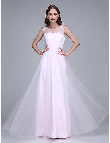 시스 / 칼럼 바닥 길이 튤 신부 들러리 드레스 와 허리끈/리본 으로 LAN TING BRIDE®