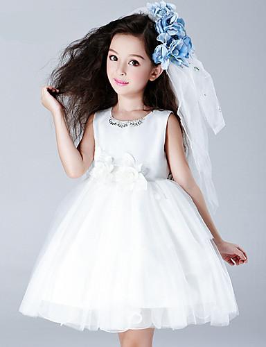Trapèze Mi-long Robe de Demoiselle d'Honneur Fille - Coton Satin Tulle Bijoux avec Fleur(s)