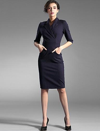Baoyan® Femme Col de Chemise Manches 1/2 Au dessus des genoux Robes-150533