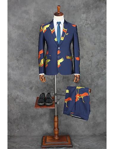 Dunkelblau Muster Weite Passform Polyester Anzug - Fallendes Revers Einreiher - 2 Knöpfe