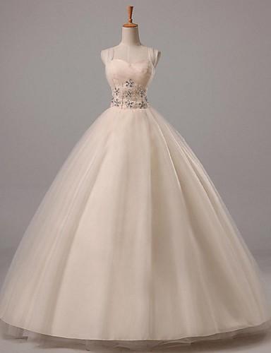 Ballkleid Hochzeitskleid Boden-Länge Riemchen Tüll mit Perlstickerei