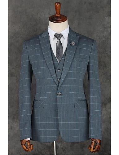 Grau Streifen Schlanke Passform Polyester Anzug - Fallendes Revers Einreiher - 1 Knopf