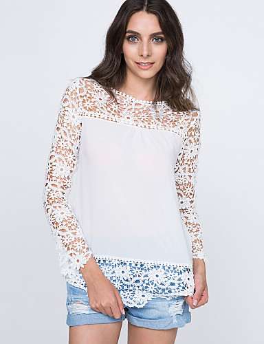 Γυναικείο Μπλούζα Καθημερινά Απλός Μονόχρωμο Patchwork,Μακρυμάνικο Στρογγυλή Λαιμόκοψη Καλοκαίρι Λεπτό Πολυεστέρας Νάιλον
