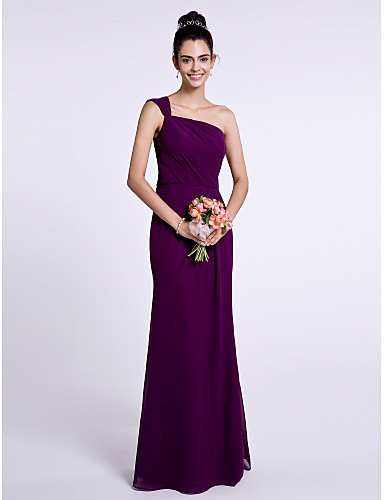 e9f86253d87 Mermaid   Trumpet One Shoulder Floor Length Chiffon Bridesmaid Dress with Pleats  by LAN TING BRIDE®