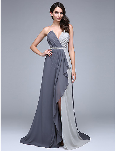 A-Line V Neck Court Train Chiffon Formal Evening Dress with Beading / Crystals / Side Draping by TS Couture® / Color Block