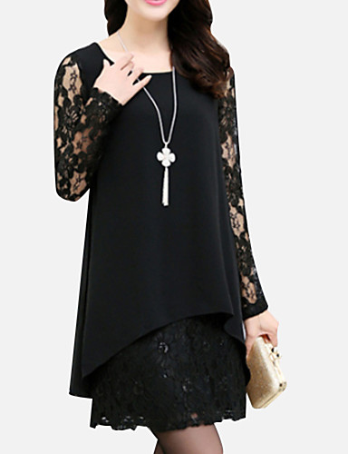 Women's Plus Size Casual Loose Lace Dress - Solid Colored Mini