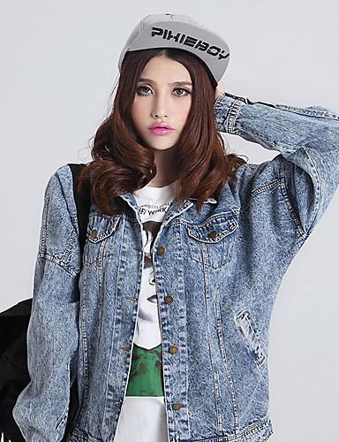 Feminino Jaqueta jeans Casual Moda de Rua Primavera Outono,Sólido Algodão Colarinho de Camisa Manga Comprida