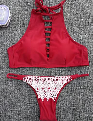 Femme Licou Bikinis Rétro,Nylon Spandex Solide