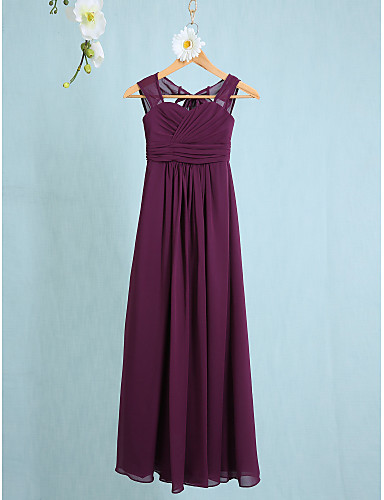 6b0847e18 Sheath / Column Straps Ankle Length Chiffon Junior Bridesmaid Dress with  Ruched by LAN TING BRIDE® / Natural