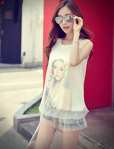 rosa Doll® Feminino Decote Redondo Sem Mangas Camisa Branco-X15BTS048