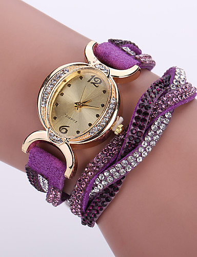 cheap Floral Watches-Women's Bracelet Watch Wrist Watch Simulated Diamond Watch Quartz Leather Black / White / Blue Imitation Diamond / Analog Ladies Flower Bohemian Fashion - Red Pink Light Blue One Year Battery Life