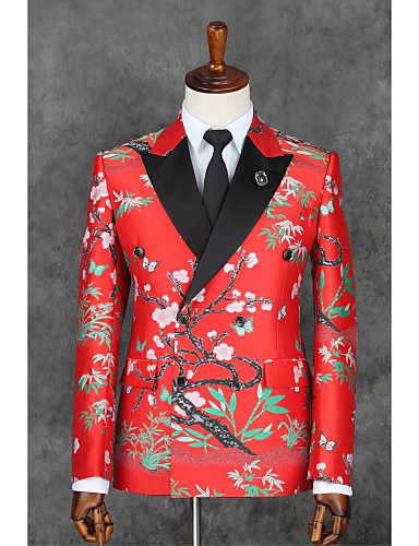 אדום דפוס גזרה צרה פוליאסטר חליפה - פתוח צר Double Breasted Two-button