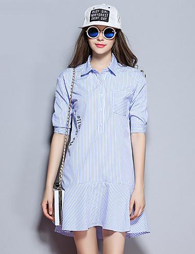 sybel kvinders gå ud / simpel / sød sommer / efterår shirt, stribet skjorte krave kortærmet blå polyester medium