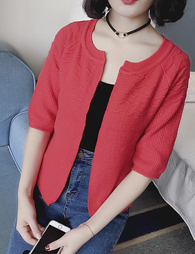 Regular Cardigan Simple,Un Color Rosa / Rojo / Blanco / Negro Cuello Barco Manga Larga Algodón Primavera Medio Microelástico