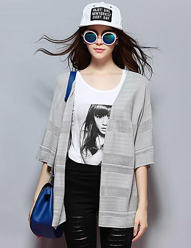 sybel kvinders gå ud / afslappet / daglig / kineserier regelmæssig cardigan, solid grå v hals ½ længde ærme rayonsummer