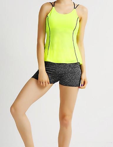 Mulheres Regata de Corrida Sem Manga Respirável Blusas para Exercício e Atividade Física Corrida Náilon Chinês Delgado Amarelo
